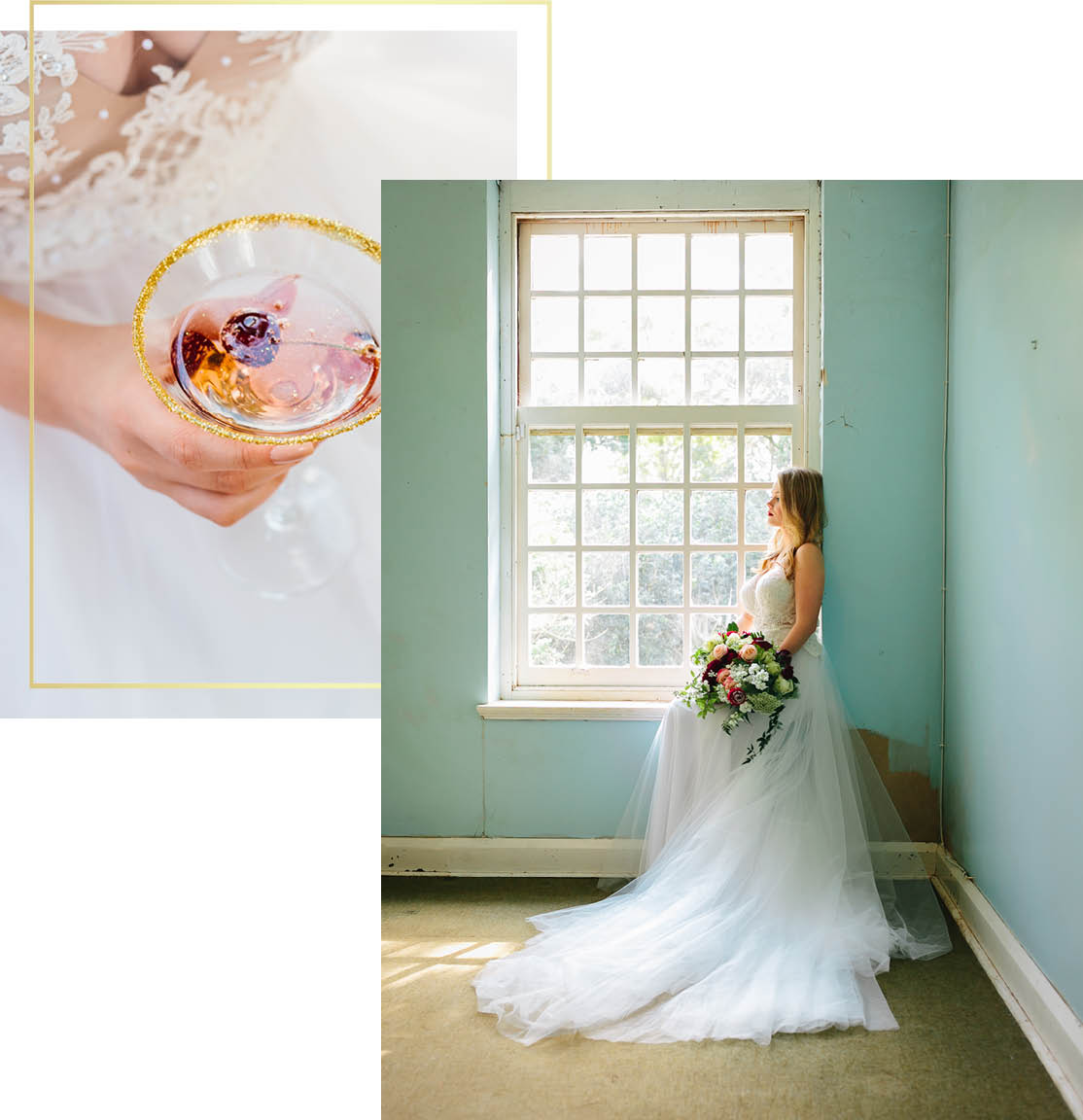 Lauren Setterberg Photography Website Bride sitting by window and holding champagne